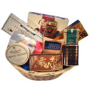 Gift Basket packed full of chocolates and chocolate products