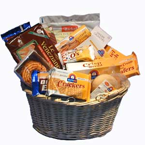 Gift basket full of tasty products for a gluten free diet