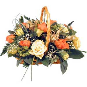 Rose basket arrangement - beautiful fresh arrangement delivered in the UK