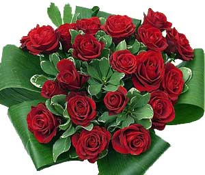 Red Roses hand tied in a stunning bouquet to say I love you, anytime!