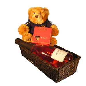 Teddy, wine and chocolates gift basket